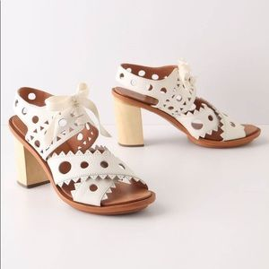 Anthropologie Leifsdottir Cutout Leather Heels • 8
